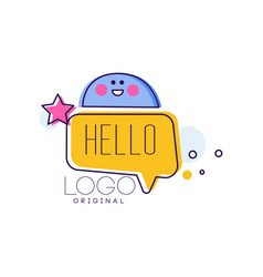Hello logo original badge with hello word and vector