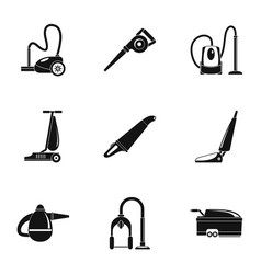 house vacuum cleaner icon set simple style vector image