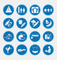 Icon set of obesity related diseases and vector