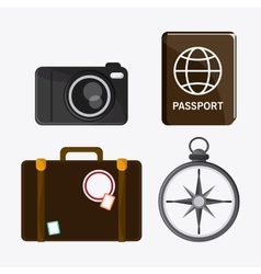 icon set travel vacations trip graphic vector image