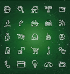 icons in chalk on blackboard sketches for the vector image
