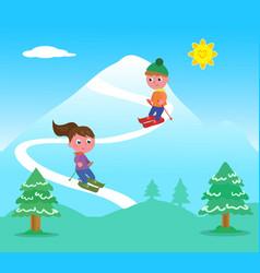 Kids skiing on mountains vector