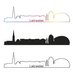 Leicester skyline linear style with rainbow vector image