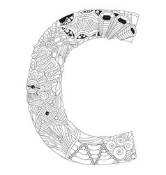letter c zentangle decorative object for vector image