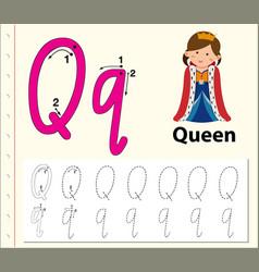 Letter q tracing alphabet worksheets vector