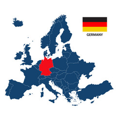 Map of europe with highlighted germany vector