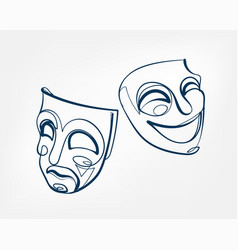 mask one line isolated design element vector image