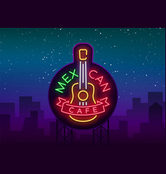 mexican cafe is a neon sign bright glow sign vector image