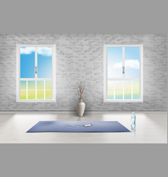 Mockup of empty room studio for yoga vector