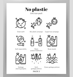 No plastic icons line pack vector