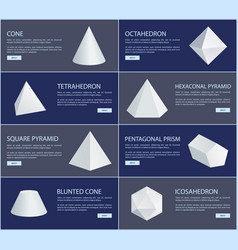 octahedron and tetrahedron white figures group vector image