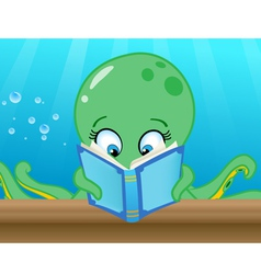 octopus reading book vector image