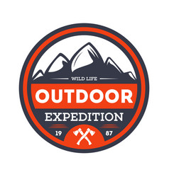 outdoor nature expedition vintage isolated badge vector image