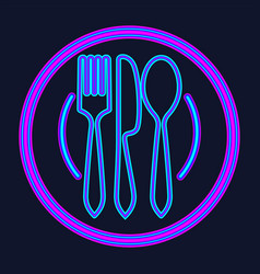 plate fork and knife neon sign meal and vector image