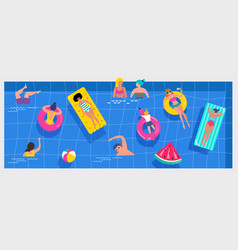 pool party scene with a lot tiny people vector image