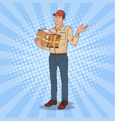 pop art unprofessional courier with damaged parcel vector image