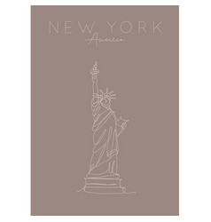 poster new york statue liberty brown vector image