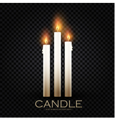 Realistic 3d burining wax paraffin candles vector