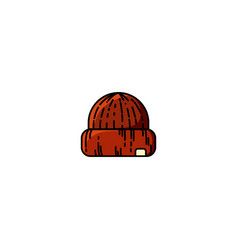 Red knitted hipster cap vector
