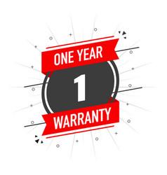 Red warranty stamp one year warranty flat design vector