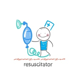 resuscitation with oxygen mask vector image vector image