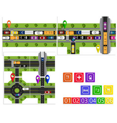 road infographic a set of abstract road junctions vector image