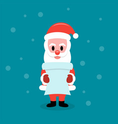 santa claus reading gift list from children vector image