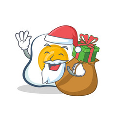 Santa fried egg character cartoon with gift vector