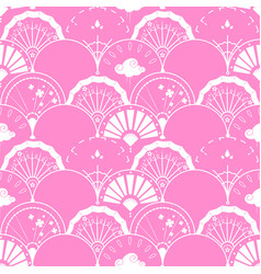 seamless pattern with chinese fan vector image