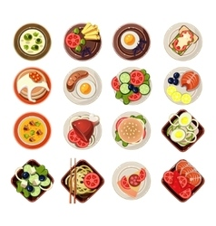 Set of Dishes with Various Food vector image