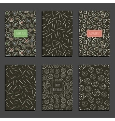 Set of retro universal card templates on dark vector image