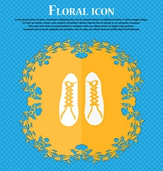 shoes icon Floral flat design on a blue abstract vector image