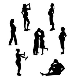 Silhouettes of pregnant women-2 vector