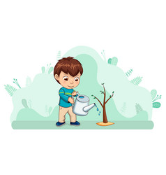 Small kid boy caring for nature watering plant vector