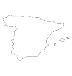 spain - solid black outline border map of country vector image