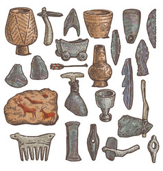 Stone age primitive cave weapon and vector