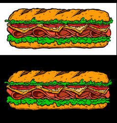 Submarine sandwich design element for poster card vector
