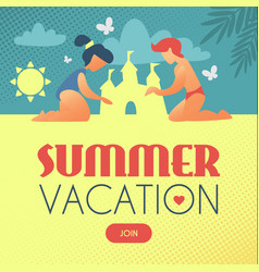 summer vacation children building sand castle vector image