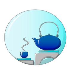 tea in kitchen icon cartoon style vector image