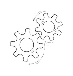 teamwork concept hand drawn cog and gear sketch vector image