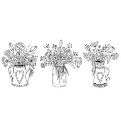 three vases with floral bouquets vector image