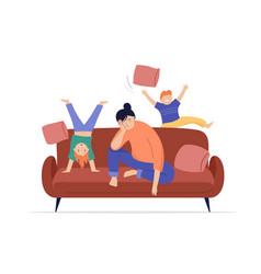 Tired mother sits on sofa children play jump and vector