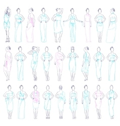 various evening dresses set vector image