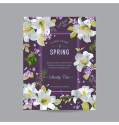 Vintage Lily Floral Colorful Frame vector