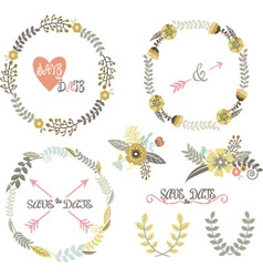 Vintage Wedding Wreath Laurel Elements vector