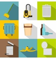 Waste icons set flat style vector image