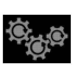 White halftone transmission gears rotation icon vector