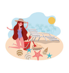 Woman on beach with swimsuit and sand bucket vector
