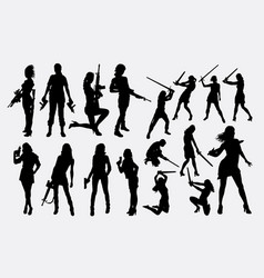 woman with weapon silhouette vector image