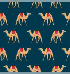 camel cartoon seamless pattern on blue vector image